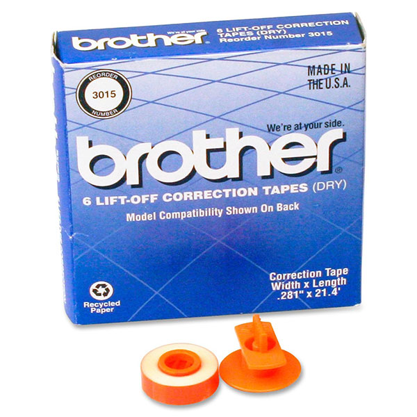 Genuine OEM Brother 3015 Black Lift-Off Correct Tape (6 pk)